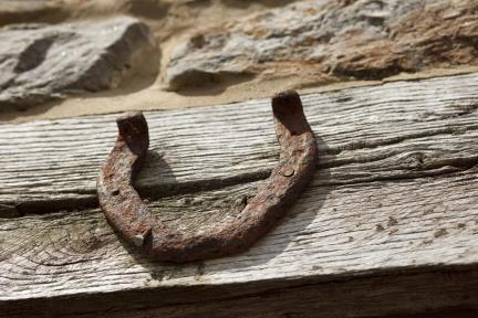 An old horseshoe above the window
